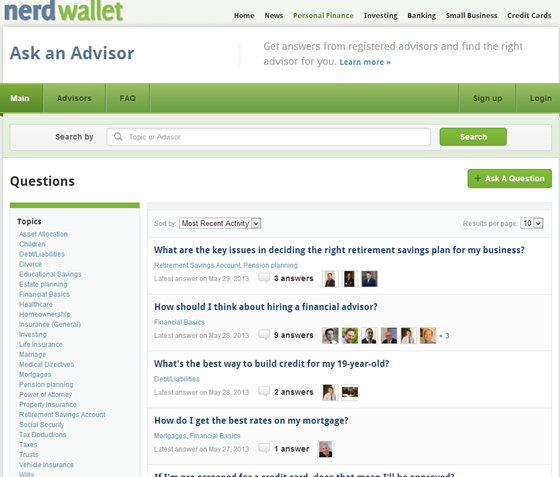 NerdWallet - Ask an Advisor >>>