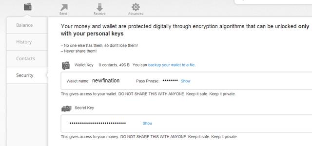 Ripple - show my keys >>>