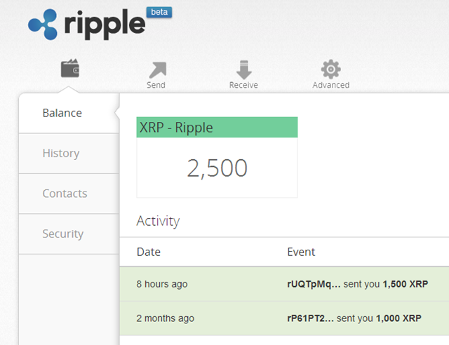 As you can see I own 2500 ripples >>>